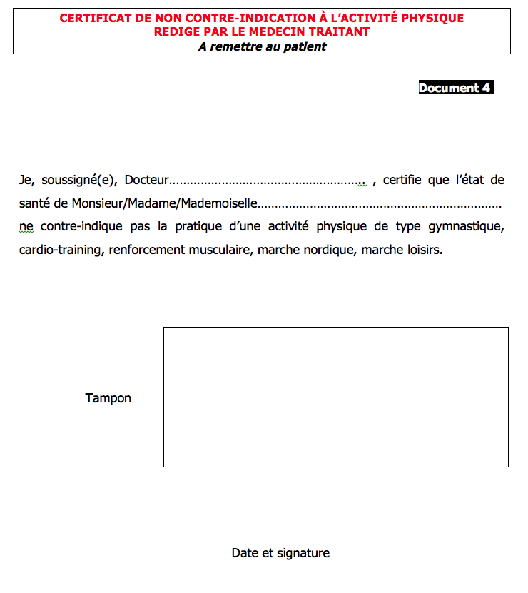modele certificat non contre indication sport document online. Black Bedroom Furniture Sets. Home Design Ideas