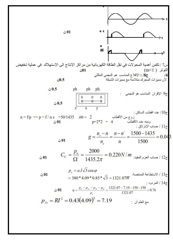 اختبار في مادة الهندسة الكهربائية للسنة 3  ثانوي الفصل الأول