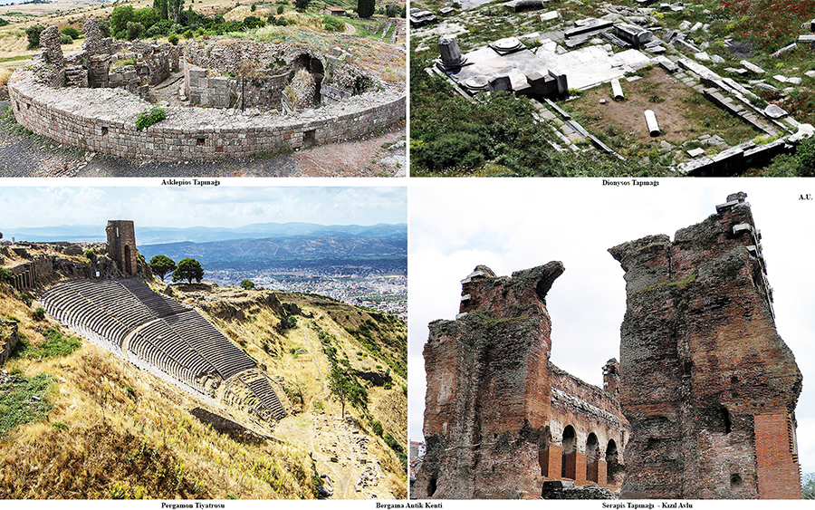 Asclepion, Temple of Dionysus, Theatre of Pergamon, Serapis Temple, The Red Basilica – from ancient city of Pergamon in Turkey