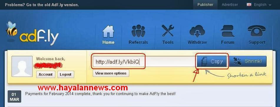 Cara praktis mendapatkan uang dari adfly di blog