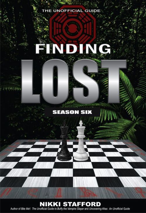 Unpublished draft cover to Finding 'Lost' book with black and white kings on chessboard against forest background