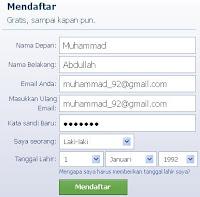 contoh form facebook