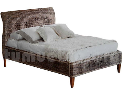 cama rattan natural y madera teca j795