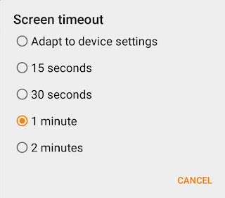Screen timeout