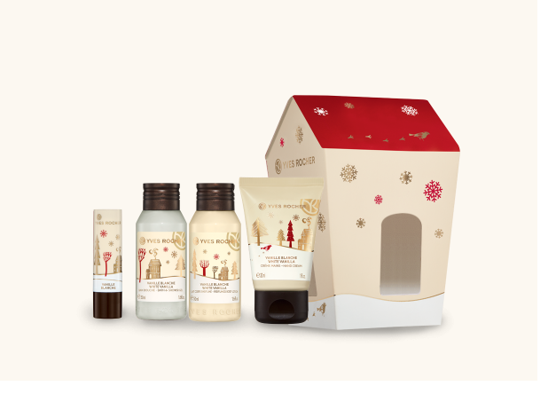 Cassetta Vaniglia Bianca regalo di Natale Yves Rocher, bagnodoccia, balsamo labbra, latte corpo, crema mani, mirtilla malcontenta beauty blog