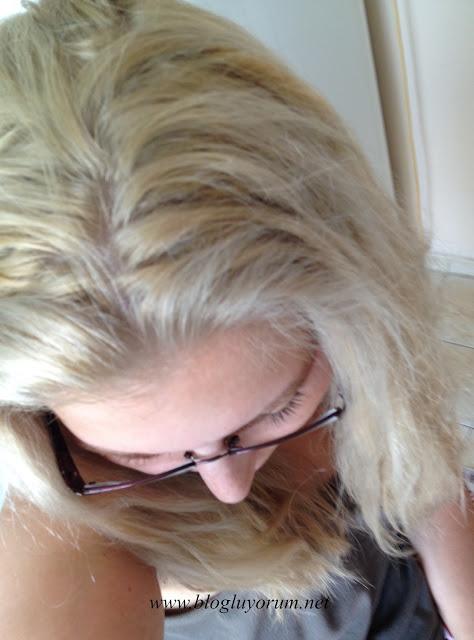 saçı açarak Palette Deluxe 10-2 Platin Sarı boyama sonuç
