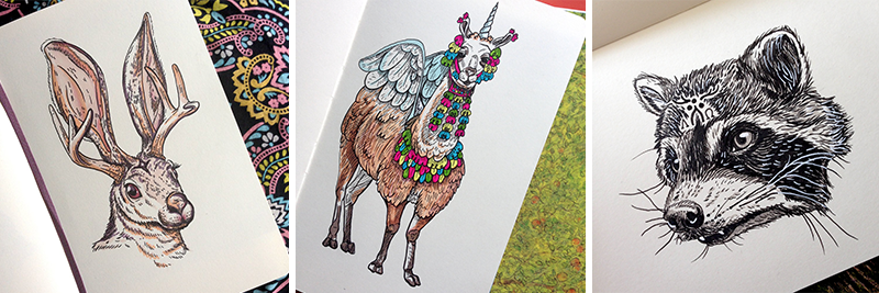 Pepper Raccoon Inktober illustrations Jackalope Fiesta Llama Alpaca