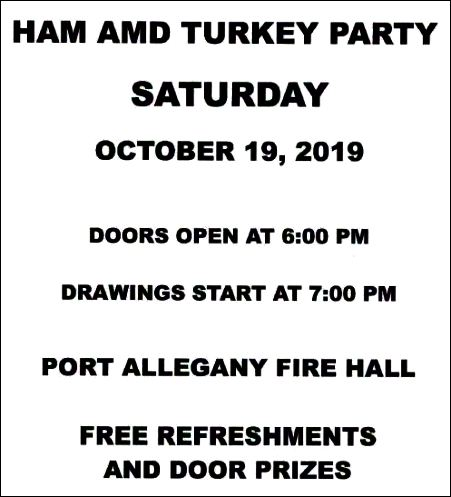 10-19 Ham & Turkey Party, Port Allegany Fire Dept.