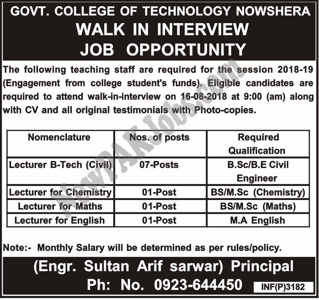 Walk in Interview Jobs in Government College of Technology Nowhsera, August 2018 Govt Vacancies