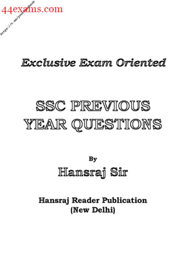 SSC Previous Year Questions By Hansraj Sir PDF Book