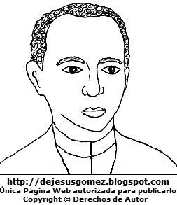 Rostro de San Martín de Porres para colorear pintar imprimir de Jesus Gómez