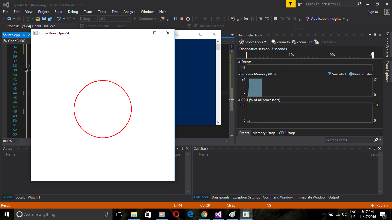 OpenGL: Midpoint Circle Drawing Algorithm