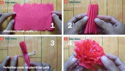Tutorial DIY membuat bunga hias ibarat kembang sepatu memakai kertas krep CARA MEMBUAT BUNGA KEMBANG SEPATU DARI KERTAS