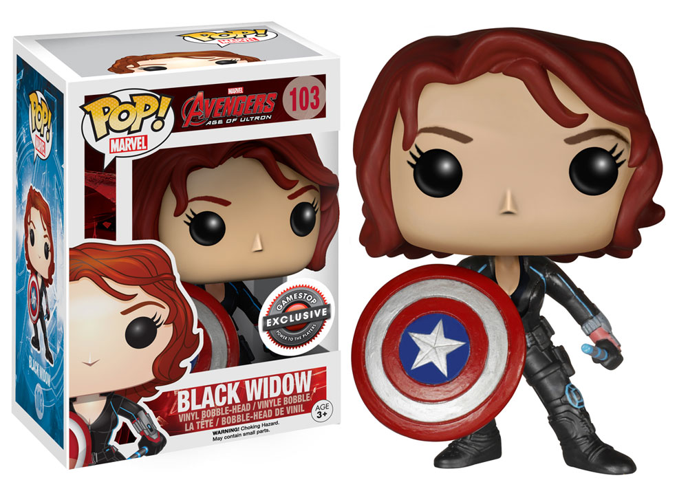 GameStop Exclusive Avengers  Age of Ultron Black Widow with Captain  America s Shield Pop! Marvel 57351003ea8a
