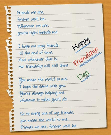 Friendship Day Poems - Friends Forever