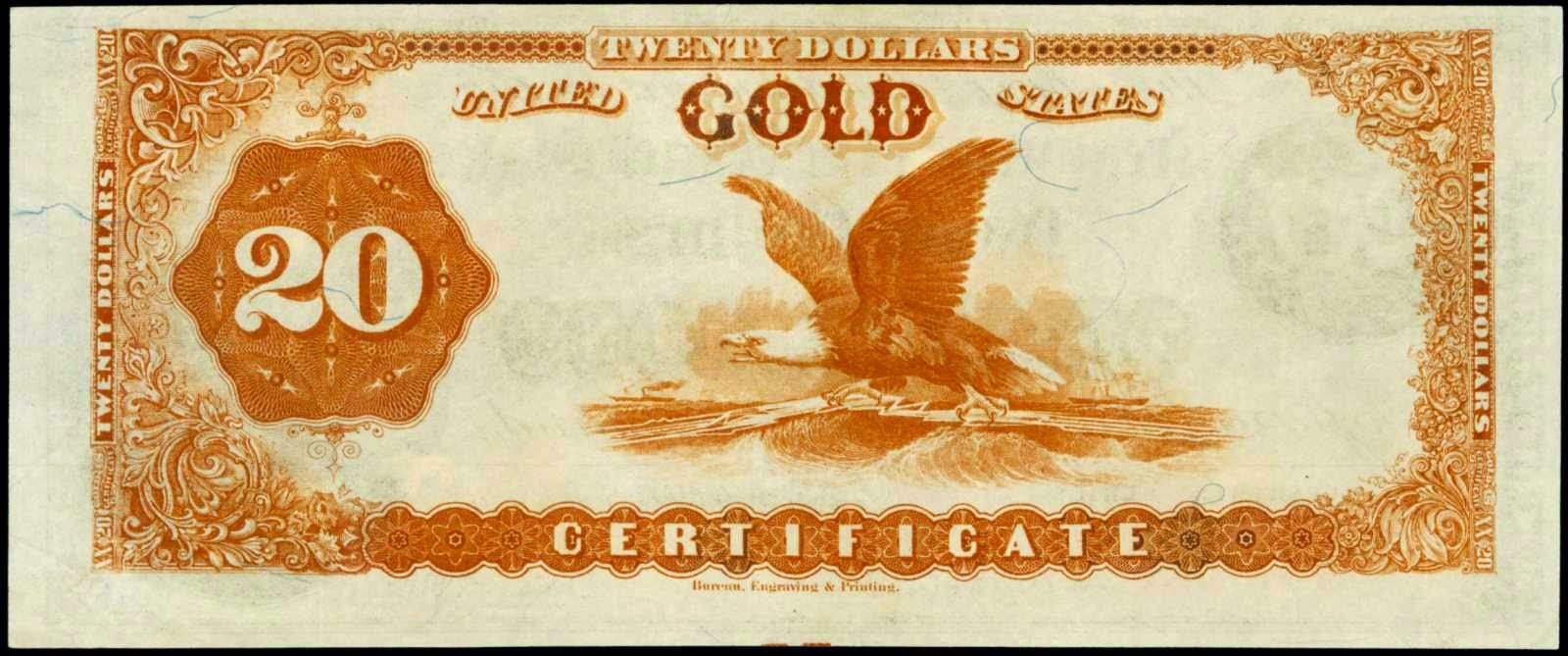 "American money 1882 20 Dollar bill Gold Certificate ""Ocean Telegraph"""