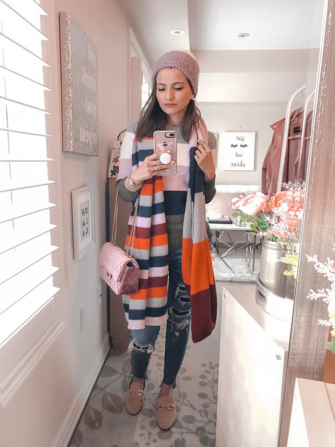 Striped sweater and striped scarf preppy fall blogger outfit
