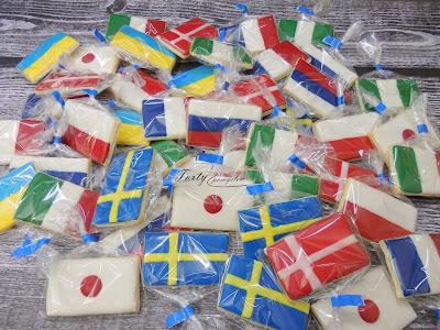 Ciasteczka flagi Polska Ukraina Rosja Dania Włochy Francja Szwecja