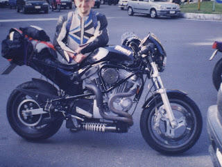 ascanio gardini with his buell m2 cyclone black in 1999