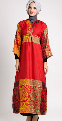 Gamis batik muslim wanita berjilbab