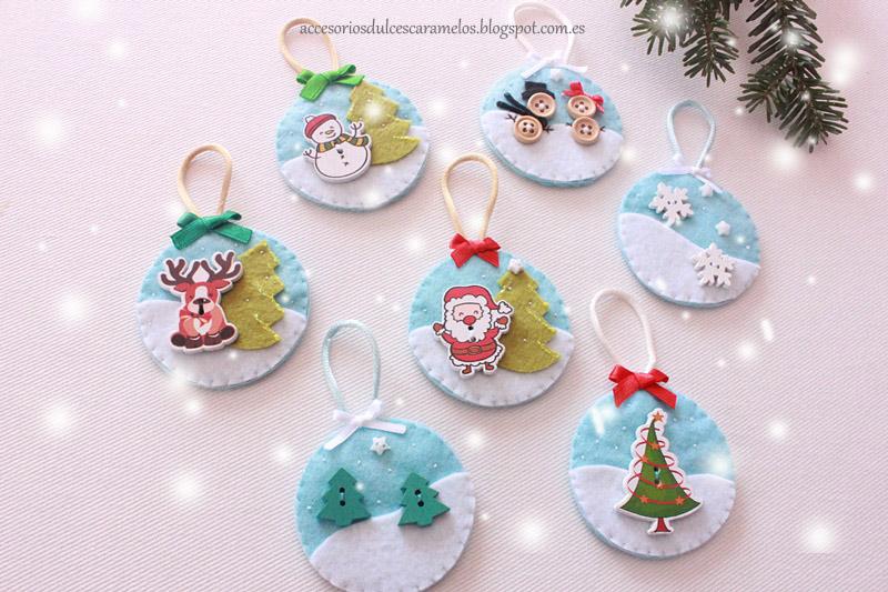 Fieltro dulcescaramelos bolas de fieltro para el rbol de - Bolas de navidad de fieltro ...