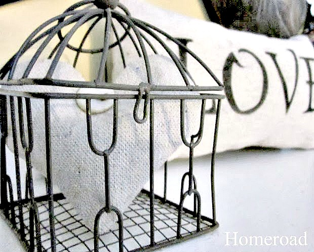 Lavender Heart Sachets in a metal basket