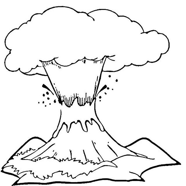 Gambar Mewarnai Gunung Merapi - 6