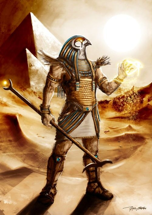 Gatekeeper - Horus, Egyptian myth: a falcon headed patron god. He was the god of vengeance, war, the sky, and the sun. He was a very important figure in Egyptian religion.