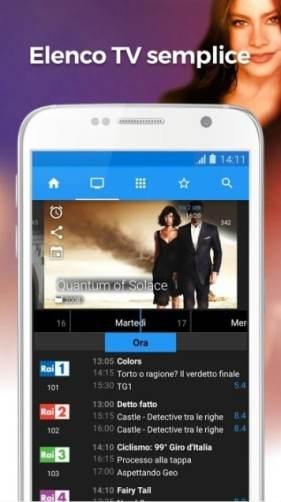 App TV per programmi personalizzati per qualsiasi servizio via cavo, satellite o di trasmissione