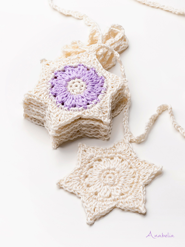 Anabelia Craft Design Crochet Stars Garland For Christmas Pattern