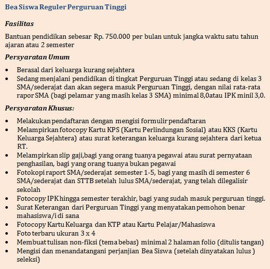 Beasiswa S1 Reguler