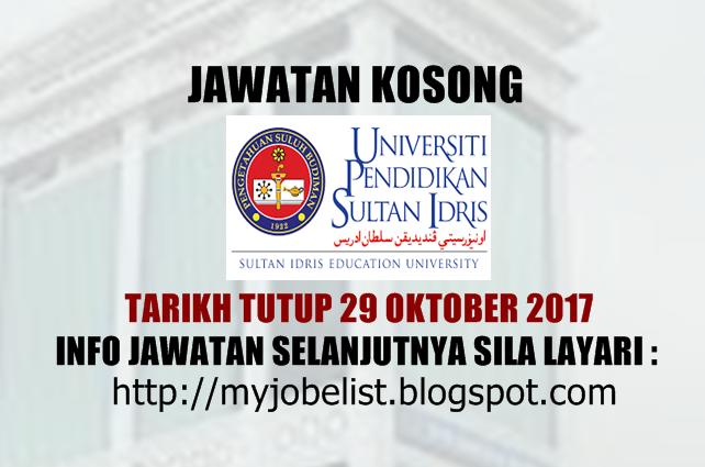 Jawatan kosong terkini di Universiti Pendidikan Sultan Idris (UPSI) Oktober 2017
