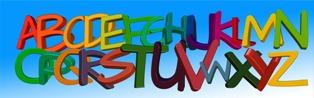 lettere colorate dell'alfabeto