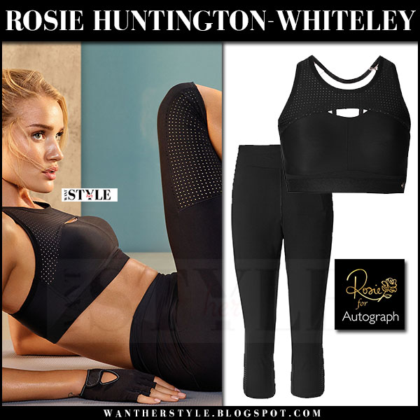 Rosie Huntington-Whiteley in black sports bra and black leggings Rosie for Autograph Active what she wore