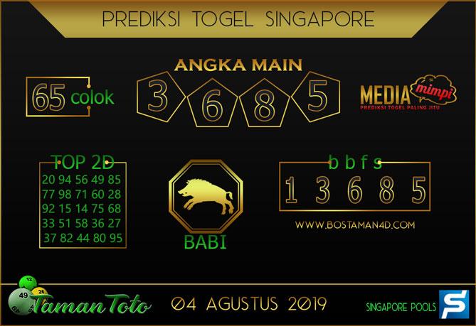 Prediksi Togel SINGAPORE TAMAN TOTO 04 AGUSTUS 2019