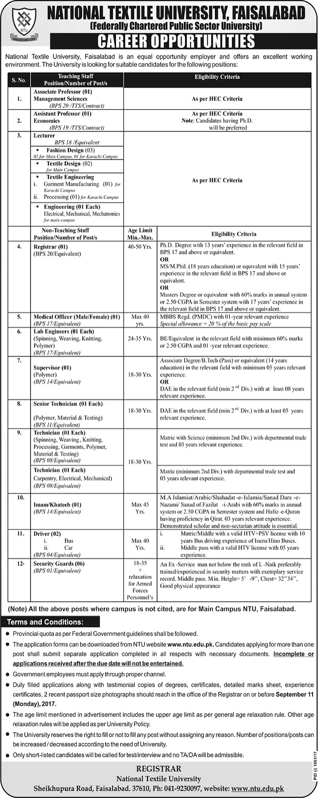 Jobs in National Textile University Faisalabad  August 2017.