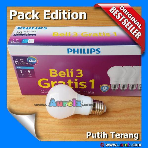 lampu led philips 6.5 watt cool daylight / putih terang beli 3 gratis 1 edisi unicef pack edition
