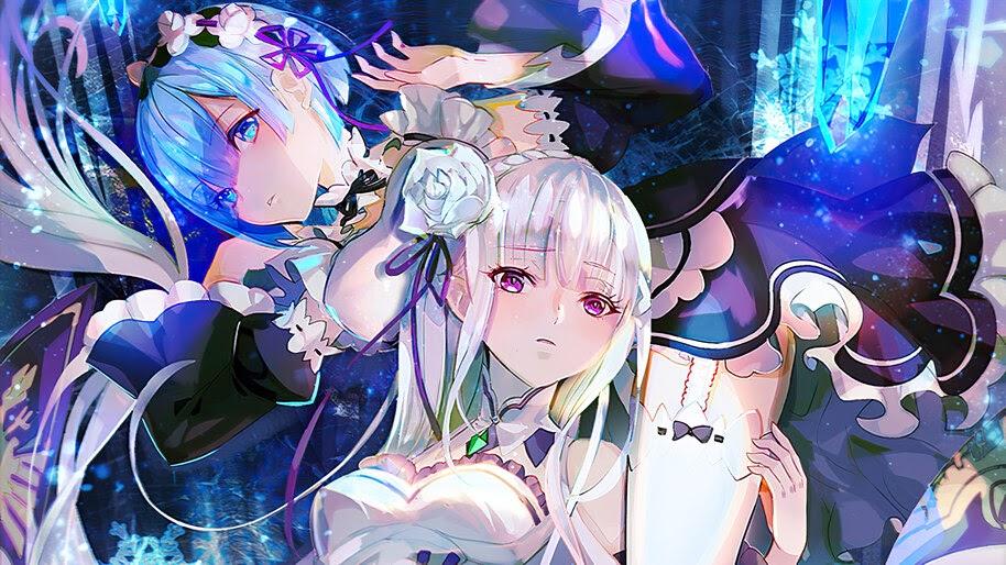 Rem, Emilia, Anime, Girls, Re:Zero, 4K, #4.2749