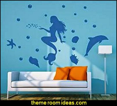 Mermaid Dolphin wall mural decals underwater bedroom ideas - under the sea theme bedrooms - mermaid theme bedrooms - sea life bedrooms - Little mermaid princess Ariel - Sponge Bob theme bedrooms - mermaid bedding - Disney's little mermaid - clamshell bed - mermaid murals - mermaid wall decal stickers -