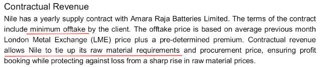 Equity research report analysis, Nile Ltd, an Indian manufacturer of Lead and its alloys, supplying to Amara Raja Batteries Ltd