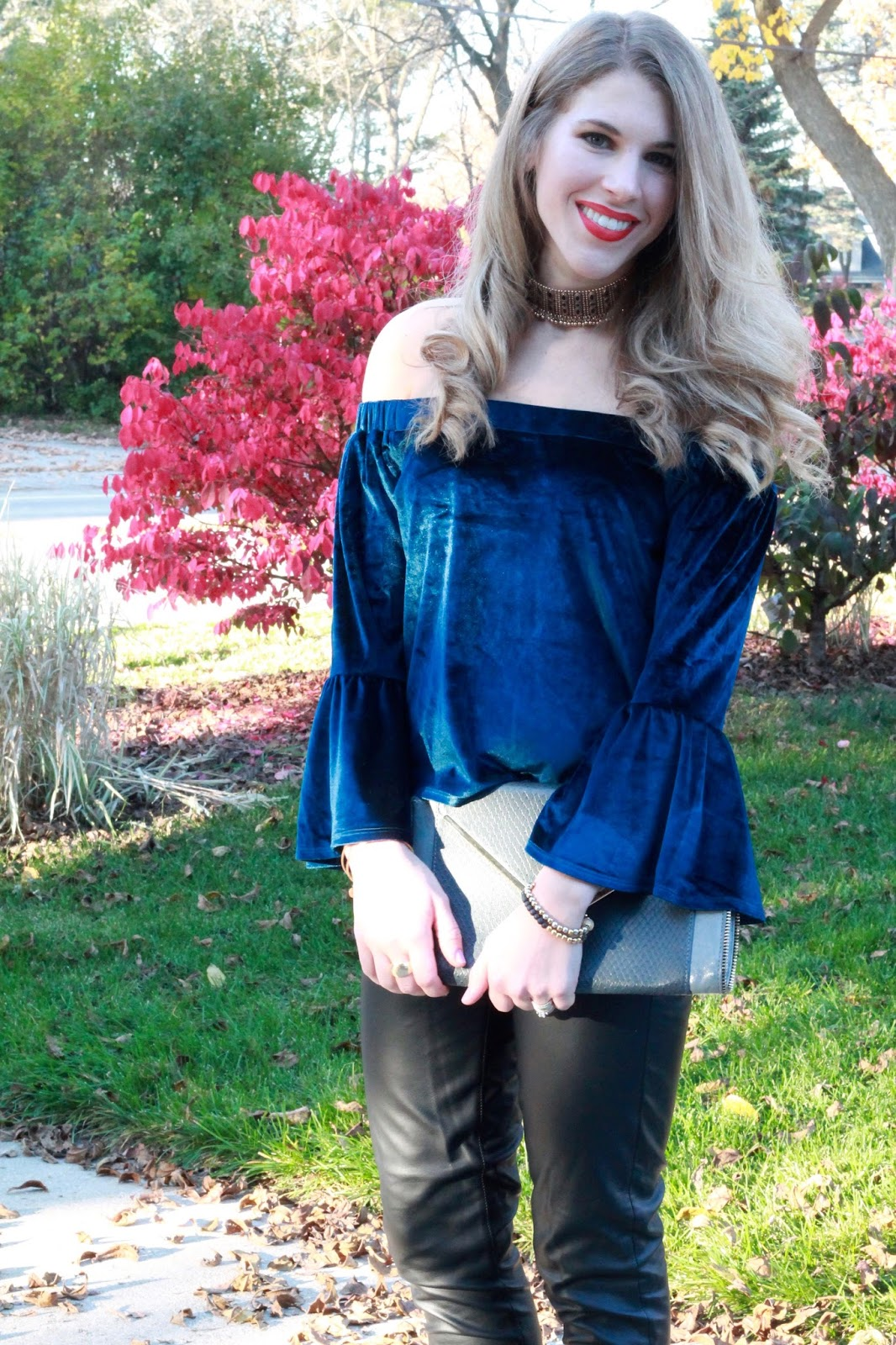 blue velvet off shoulder top, leather pants, snakeskin lace up heels, grey envelope clutch, choker necklace