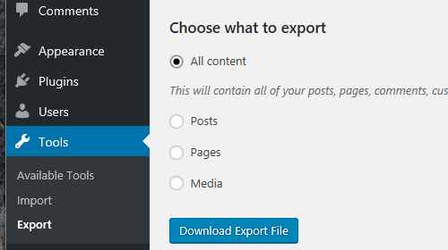 export your WordPress website to a live server