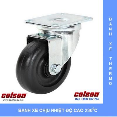 Bánh xe đẩy trolley chịu nhiệt lò nướng bánh mì Colson | A2-3346-52HT www.banhxepu.net