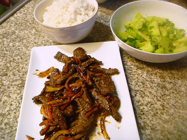 Gingery-garlicky brown sauce together with strips of beef and vegetables that Mongolian Beef! - Slice of Southern