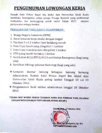 Non PNS 2016 - Rumah Sakit Prince Nayef Bin Abdu Aziz Universitas Syiah Kuala