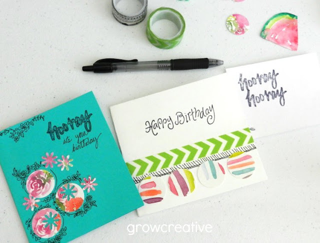 Birthday Cards made from watercolor cut-outs. growcreativeblog