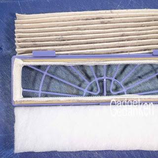 Filterrahmen mit eingeklebtem Klett und neuem Filterzuschnitt