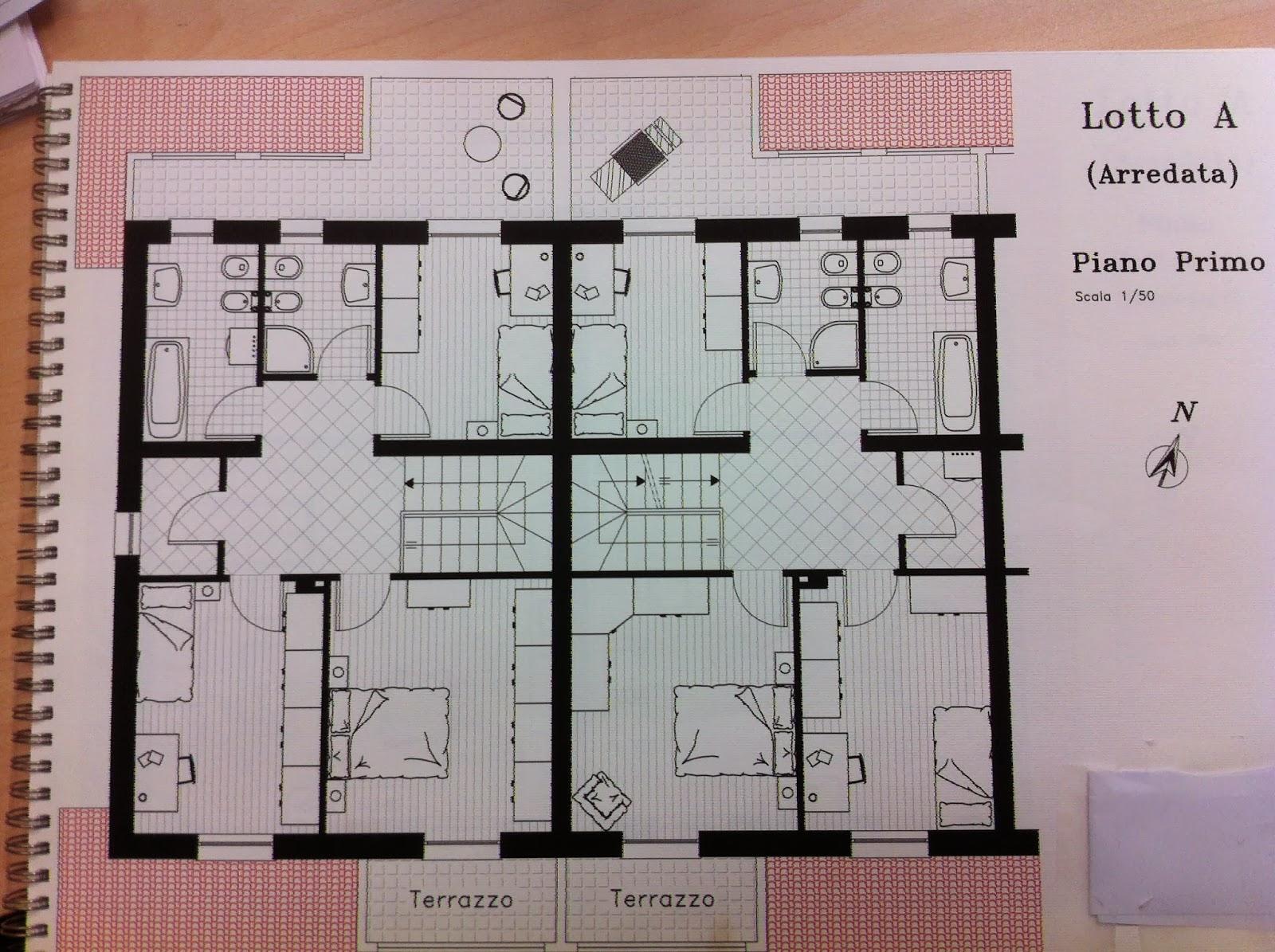 Planimetria villetta a schiera for Progetto casa in legno dwg