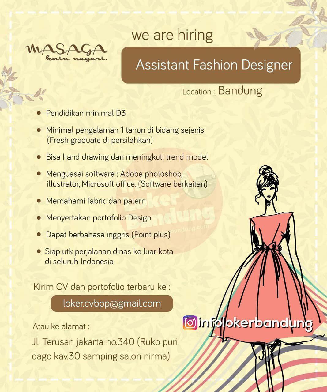 Lowongan Kerja Asistant Fashion Designer Masaga Kain Negeri Bandung Januari 2019