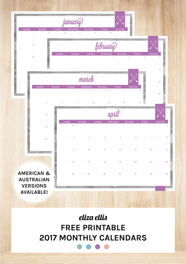 Free Printable 2017 Home Organizer Calendars & Covers by Eliza Ellis - Updating my immensely popular planners for 2017 including Home Organizer Covers, Year to a Page Calendars, Month to a Page Calendars, Week to a Page Diary and Day to a Page Diary. Available in both American and Australian/UK versions.